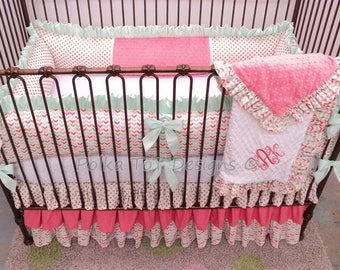 Mint ,Coral & Gold Baby Girl Bedding : Annabel