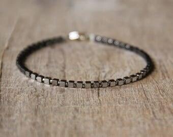 Cube Hematite Bracelet, Silver Bracelet, Oxidized Bracelet, Sterling Silver, Delicate Jewelry, Jewellery Gift for Girlfriend, Hematite Cubes