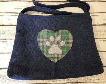Hearts and pawprint cross body or shoulder tote style bag in navy blue blue woollen with check lining
