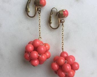 Vintage Orange Glass Drop Clip On Earrings