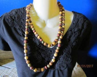 """Vintage 48"""" Multi Tone Colored Wood Wooden Single Strand Chunky Beaded Necklace"""