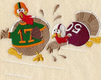 embroidered Hand towel - touchdown turkeys - many colors available