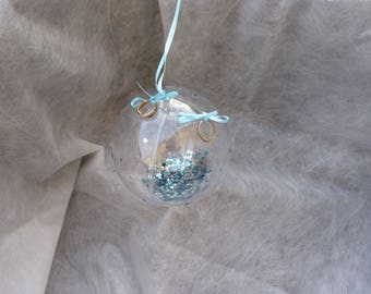 """Original wedding cushion """"Bubble starry"""" blue and silver"""