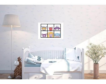 Sweet Baby Animals. Poster for Nursery, Kids Room