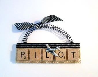 Airline Pilot Airplane Scrabble Tile Ornament