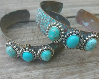 Turquoise Patina Bracelet With Stones