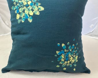 Linen cushion washed 45 cm X 45 cm Prussian blue with flowers
