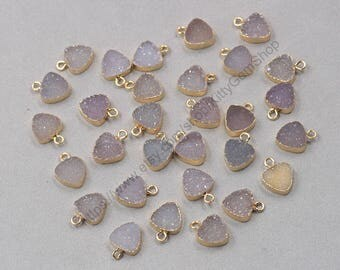10mm Tiny Triangle Agate Druzy Pendants -- With Electroplated Gold Edge Druzzy Drusy Geode Dainty Charms Supplies Handmade YHA-315