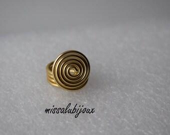 ring spiral xxl aluminum gold size 56