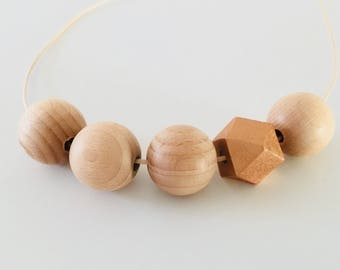 Bronze/ Beech Geometric wooden beaded necklace - Bronze and Natural Wood