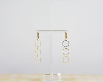 Triple Hexagon earrings