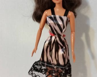 "B 013 Handmade Black and Cream Tiger Print Sundress for Barbie and other 11 1/2"" fashion dolls"