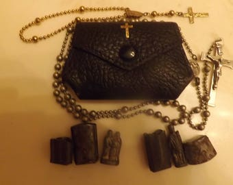WWl Chaplains Rosaries Two Pocket Shrines ,The Holy family and St. Jude. Two rosaries Battle Used! Saint Shrines, Rosary, Rosary pouch,