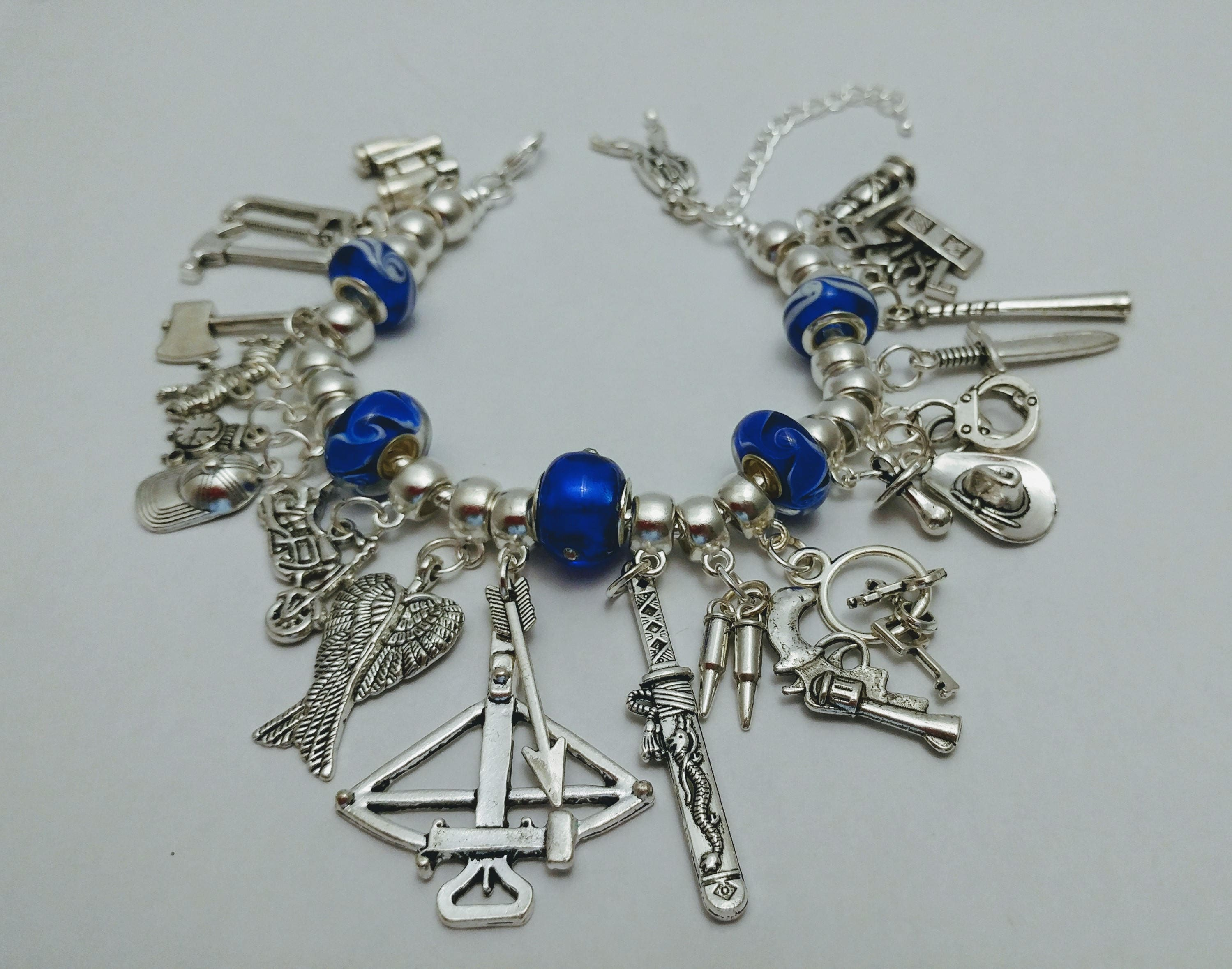 the walking dead charm bracelet with blue beads