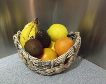 Woven Fruit Basket, Orange Brown white swirl beads,Kitchen,Table ware,Water resistant,Up-cycled paper,100% Aussie made
