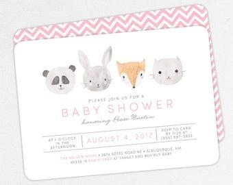 Woodlands Baby Shower Invitation, Pink Baby Shower, Girl Baby Shower, Printable Invitation, PDF Invitation, Animal, Watercolor, Fox, Panda
