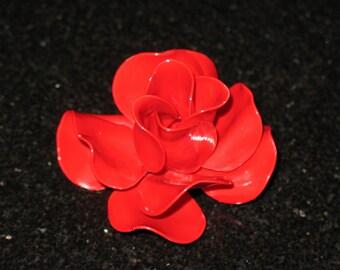 Vintage Realistic Enamel Deep Red Rose Brooch
