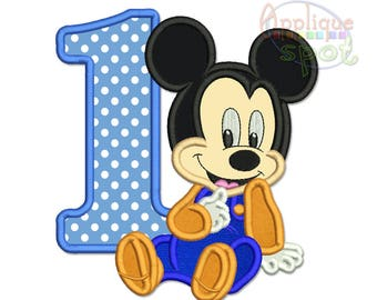 Baby Mickey First 1st Birthday - 4 sizes included 4x4 5x7 6x10 7x11 Applique Design Embroidery Machine -Instant Download File