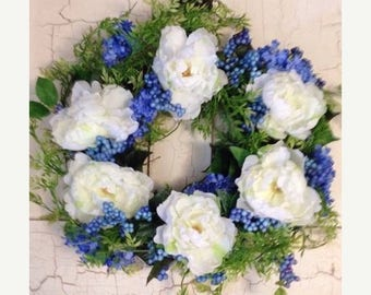 SPRING WREATH~ Mothers Day Door Wreath~Spring Door Decor French Country Inspired Wreath~Farmhouse Decor Wreath~Shabby Chic Wreath~Front Door