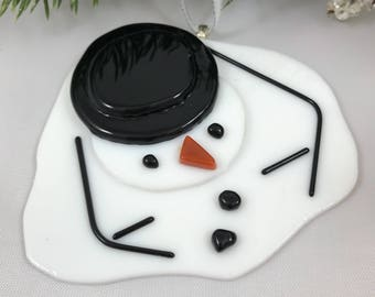 Fused Glass Melting Snowman Ornament (035)