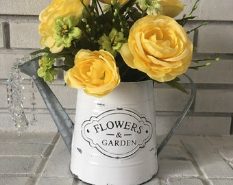 Spring Watering Can Yellow Floral Arrangement