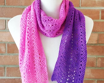 Pink and purple merino wool scarf