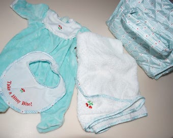 American Girl Bitty Baby Sleeper, Bib, Towel & Diaper Bag
