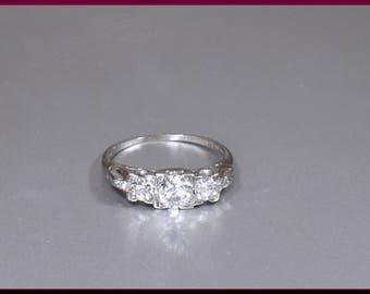 Antique Vintage Art Deco Platinum 3 Stone Old European Cut Diamond Engagement Ring Wedding Ring - ER 636M
