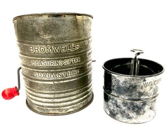 Antique Bromwell's 5 Cup Tin Sifter and 2 Cup Tin Sifter, MADE IN USA, 1930's