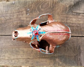 Hand Painted Copper Racoon Skull With Dotting