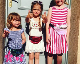 Kid's bumbags fannypacks kid's bag sequins discobag travelling pouch povket money belt