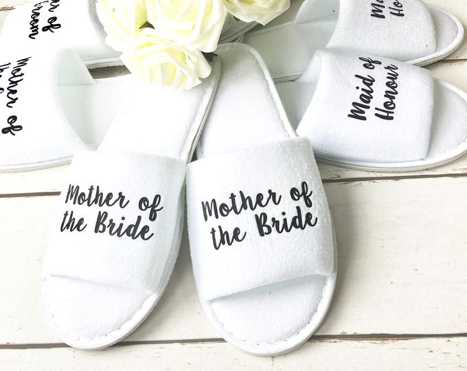 Featured listing image: Bridesmaid Slippers | Wedding Slippers | Spa Slippers | Bridal Party Slippers | Hen Party Slippers |Personalised Slippers | Wedding Slippers