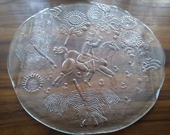 "Kosta Boda, Sweden ""Dalom"" Series Art Glass Platter by Gorm Warff"