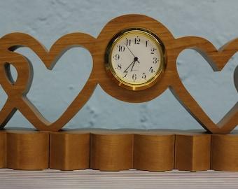 scroll saw cut cherry desk clock