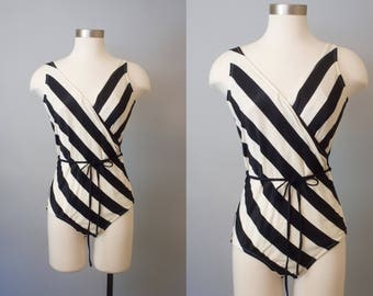 1980s Striped Swimsuit / Vintage 80s Bathing Suit / 1980s Swimsuit