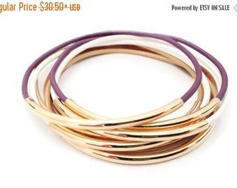 Christmas in July SALE Bracelet, Bangle,Wrap Bracelet, Leather Bracelet, Plum Bohemian Bracelet, Stackable Bracelet, Stackable Bangles, Tube