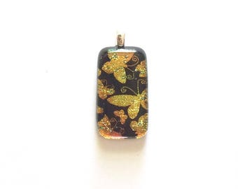 Orange, Yellow, Gold & Black,  Butterflies, Fused Dichroic Glass Cabochon, Pendant, Butterfly Patterns, Dichroic Jewelry, Art