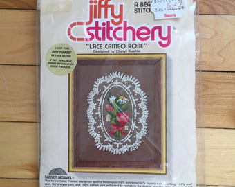 Vintage 1980s Jiffy Stitchery Lace Cameo Rose Floral Crewel Embroidery Craft Kit!