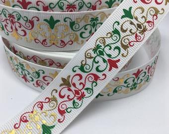 """7/8"""" Christmas Damask Gold Foil grosgrain ribbon"""