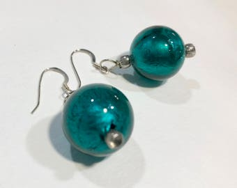 Handmade blue round shimmering bead earrings with silver plated ear wires and seed beads