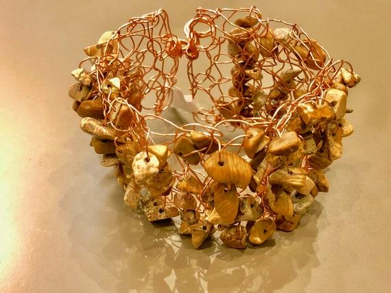 Handmade copper wire brown crochet cuff bracelet with jasper gemstone chips