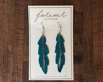 Teal Feather Leather Earrings with Silver Dangle