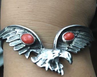Southwetern Silver Eagle with open wings cuff bracelet