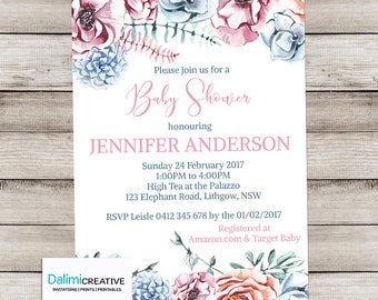 Unisex Baby Shower Invitation - Floral Baby Shower Invitation - Pink and Blue Shower Invitation - Print Yourself Invitation!