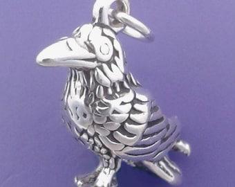 RAVEN Charm, Crow, Bird .925 Sterling Silver Pendant - lp2918