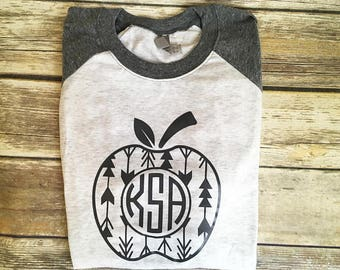 Monogrammed Teacher Arrow Apple Baseball Shirt, Teacher Monogrammed Shirt, Teacher Shirt, Teacher Raglan Shirt