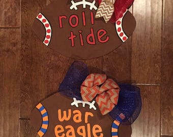 Alabama or Auburn Football Wooden Door Hanger