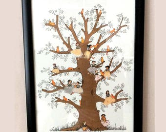 A4 PRINT of ginger cats and fairy girls perched in a tree.Lovely magical print with a golden fairy tale feel .