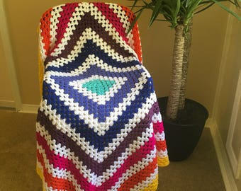 Lularoe Inspired Neverending Granny Square Crochet Throw