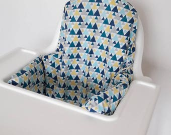 Antilop IKEA highchair cushion cover - cushion cover only - geometric triangle teal fabric cushion cover - gender neutral - MADE to ORDER
